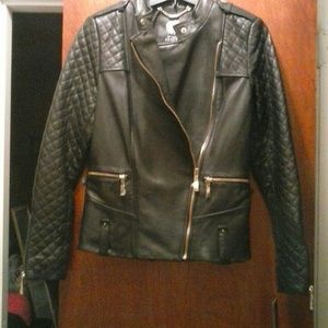 NWT Vince Camuto Genuine Leather Black Jacket XS
